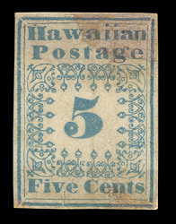 Hawaii: 1851-52 5 cents blue type 1, unused.